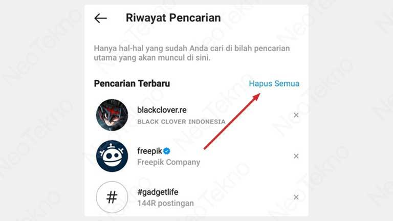 cara menghapus semua riwayat pencarian instagram