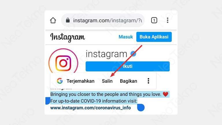 cara salin bio instagram