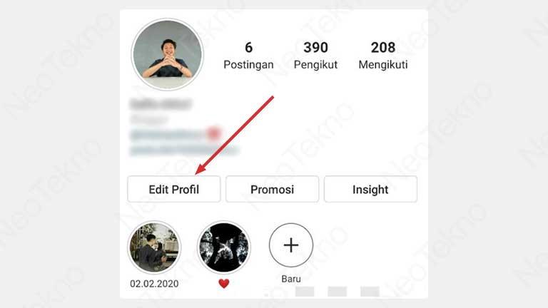 edit profil instagram