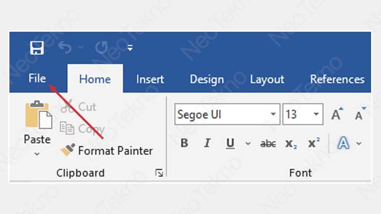 Buka menu file word