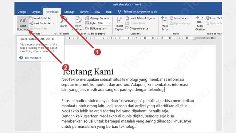 Cara Menambahkan Footnote di Word Windows
