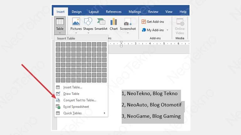 Cara membuat tabel dari teks
