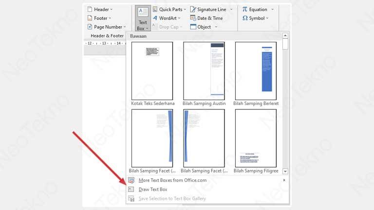 cara membuat text box di word manual