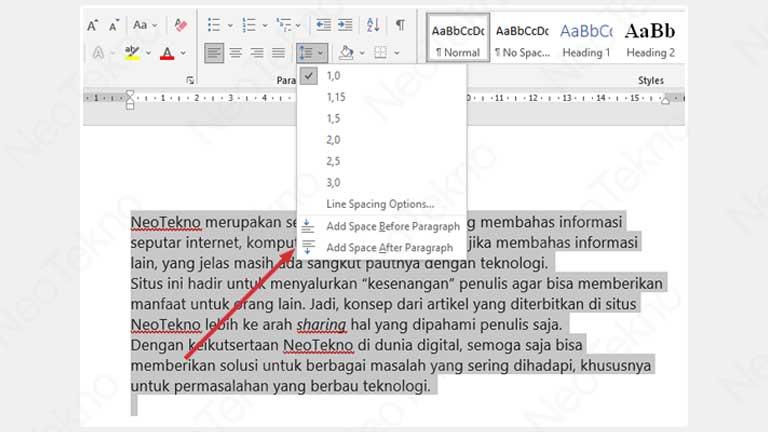 cara mengatur jarak paragraf di word