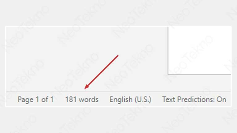 cara menghitung jumlah kata di Word online