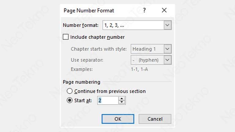 nomor halaman dimulai dari angka tertentu